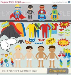 35+off+sale+Build+your+own+superhero+clip+by+ClementineDigitals,+$4.55  Party Favor Ideas: Paper doll of Superheroes with city skyline background