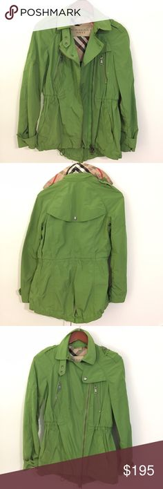 Burberry Jacket / Rain Jacket / Trench Sz Sm 6 100% Authentic Burberry light rain jacket in green, US size 6. I wear a size 2/4 typically.  This jacket has an adjustable inner cord (see last pic) that slims the waist for a more tailored fit. Not completely water proof but suitable for light rain and/or chilly Fall days. Burberry Jackets & Coats