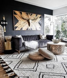 African Living Rooms, Big Living Rooms, Boho Living Room, Home And Living, Living Room Decor, Stylish Living Rooms, Modern Living, Bedroom Decor, Wall Decor