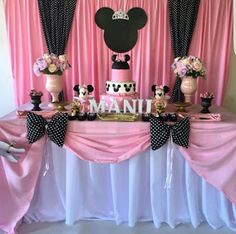 Minnie Mouse Birthday Decorations, Minnie Mouse Balloons, Girl Baby Shower Decorations, Minnie Mouse Birthday Theme, Minnie Mouse Baby Shower, Mickey Cakes, 10th Birthday, Ideas Para, Fiesta Mickey Mouse