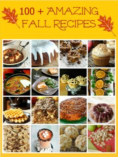 100 Plus Amazing Fall Recipes from TheHopelessHousewife.com! #recipes #fall