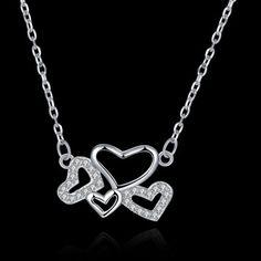 Solid-925-Sterling-Silver-Elegant-AAA-Zircon-Heart-Link-Heart-Necklace-Pendant