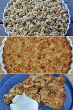 Super dejlig og simpel æbletærte med sprød smuldredej og et strejf af kanel.