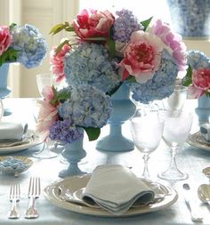 Love the sky blue ceramics for a fresh luncheon look!