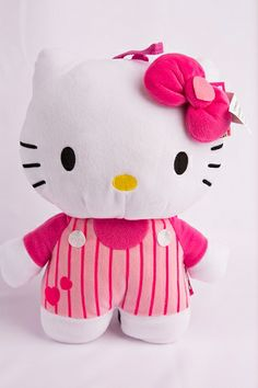 Sanrio Hello Kitty Classic Plush Hello Kitty with Striped Overall Style Backpack