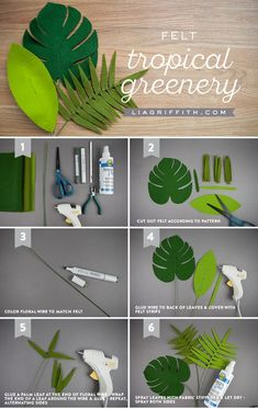 You're in the Jungle, Baby Felt Tropical Leaves & Greenery is part of Felt flowers - Green with envy! You can't complete your felt flower bouquet without some tropical leaves and greenery to adorn the flowers Paper Flowers Diy, Fabric Flowers, Paper Roses, Felt Flowers Patterns, Felt Diy, Felt Crafts, Cork Crafts, Wooden Crafts, Baby Crafts