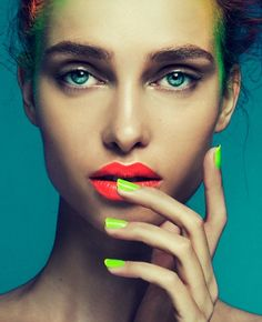 killer #neon #nails and #lipstick >>man, that girl needs to eat something and quit worrying if it'll mess up her lipstick