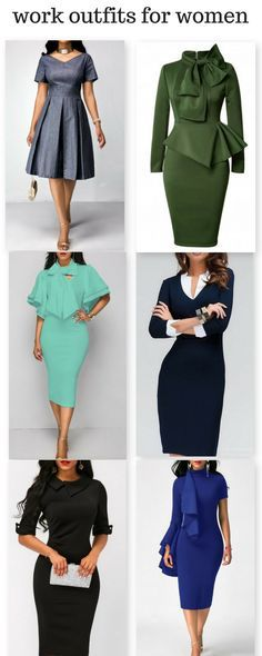 Elegant work dresses for women, it is time to update your wardrobe now. Middle-right, bottom-left Plus Size Sommer, Work Dresses For Women, Moda Vintage, Work Wardrobe, Work Attire, Work Fashion, African Fashion, Dress To Impress, Casual Dresses