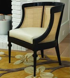 Shop for Global Views Cane Chair-Black, and other Living Room Chairs at Wright's Furniture & Flooring in Dieterich, IL Seat height: Furniture, Affordable Chair, Living Room Chairs, Chair Design, Barrel Chair, Leather Side Chair, Cane Chair, Side Chairs, Cane Back Chairs