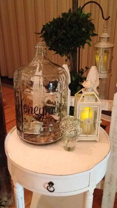 Wedding idea.  Honeymoon jar to let your guests contribute to the fund ;)