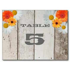 Rustic Country Table Seating Card with Daisies
