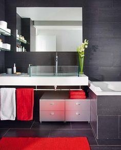 Red And Grey Bathroom On Pinterest Red Bathrooms