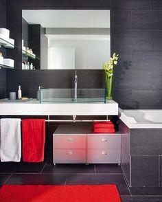 Slate bathroom with splash of colour Ecstasy Models Bathrooms