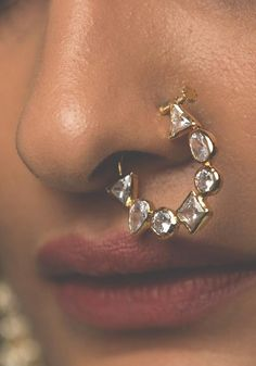 Where Do Pearls Come From Clams. Buying Pearls Earrings For Your Loved Ones - A Few Recommendations And Ideas Nose Ring Jewelry, Indian Jewelry Earrings, Fancy Jewellery, Indian Wedding Jewelry, Cute Jewelry, Bridal Jewelry, Jewelry Gifts, Silver Jewelry, Silver Nose Ring