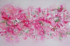 Pink Abstract Painting Original Modern Canvas Art Contemporary Artwork Pink Green White Silver UK