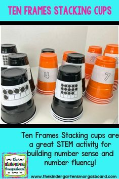 Do you need a hands on math activity to build number sense and number fluency? C… Do you need a hands on math activity to build number sense and number fluency? Check out Ten Frames Stacking Cups to engage your students in math centers! Kindergarten Smorgasboard, Numbers Kindergarten, Kindergarten Math Activities, Kindergarten Lesson Plans, Math Numbers, Preschool Math, Math Classroom, Teaching Math, Math Games