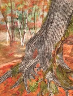"Needle felted landscape picture ""Tree Spirit"". Old cedar in Jay Cooke State Park in Minnesota"