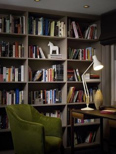 Charles Mellersh renvovation of Victorian terrace in Notting Hill, library painted Farrow and Ball Charleston Grey | Remodelista