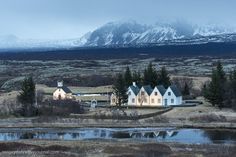 Five white houses in Iceland