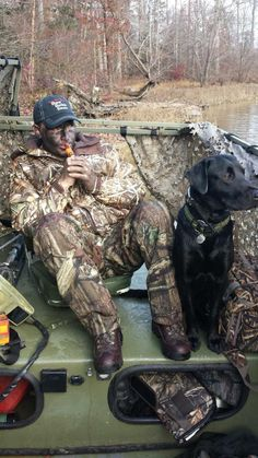 Black lab hunting in the duck blind