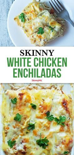 Our Skinny White Chicken Enchiladas are rich and creamy, but skip the high fat and calorie content of traditional creamy enchiladas! dinner for 1 Skinny White Chicken Enchiladas Healthy Dinner Recipes For Weight Loss, Healthy Meal Prep, Healthy Cooking, Cooking Recipes, Recipes Dinner, Dinner Healthy, Eating Healthy, Easy Healthy Chicken Recipes, Low Calorie Chicken Recipes