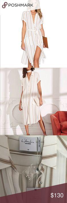 Brand new L'Academe Shirt Dress Brand new never worn L'Academie shirt dress in Stripe from Revolveclothing. Size XS L'Academie Dresses Midi