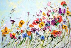 Oil Painting Flowers Palette Knife Painting on Canvas Abstract Flower Painting Custom Living Room Wall Art Color