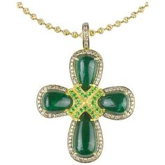 Preowned Emerald Tsavorite Garnet And Colored Diamond Cross Necklace ($7,500) ❤ liked on Polyvore featuring jewelry, necklaces, green, pendant necklaces, green pendant necklace, cross pendant, round pendant necklace, diamond necklace pendant and emerald necklace