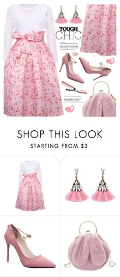 """flamingo print dress!!"" by meyli-meyli ❤ liked on Polyvore featuring Too Faced Cosmetics"