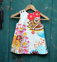 Pink Floral Retro Mod Shift Dress, Size 3T In Stock and Ready to Ship by The Cottage Mama. $38.00, via Etsy.