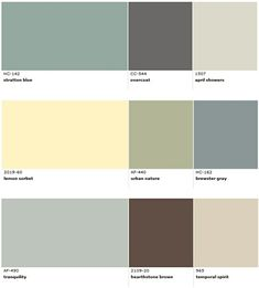 Popular Benjamin Moore paint colors for beach house decorating. Middle colours for dining /living room...grey wainscotting green upper wall...yellow accent
