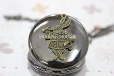 Alice in Wonderland jewelry men's black pocket watch Wedding Gift ...