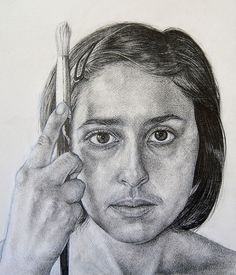 This graphite pencil drawing demonstrates highly accurate representation of detail, proportion and form. Perfectly composed, this self-portrait has an arresting gaze and a well positioned vertical line of the paint brush.