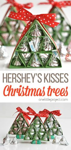 These Hershey's Kisses Christmas Trees are SO ADORABLE and they're really easy to make! They'd make wonderful little Christmas gifts! It's a perfect (and cheaper…) alternative to giving a box of chocolates, and it's made with love hugs and kisses! Little Christmas, All Things Christmas, Christmas Fun, Christmas Ornaments, Teacher Christmas Gifts, Christmas Treats, Teacher Gifts, Easy Crafts, Diy And Crafts