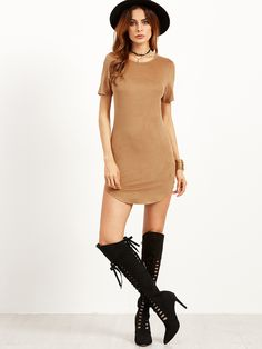 Shop Camel Faux Suede Curved Hem Bodycon Dress online. SheIn offers Camel Faux Suede Curved Hem Bodycon Dress & more to fit your fashionable needs.