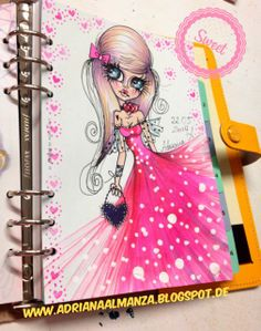 Pretty in pink, doll dreams, art girl, planner illustration