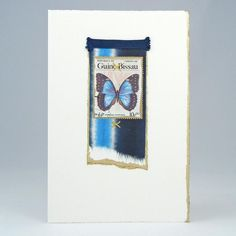 Butterfly & Tie-Dyed Paper Note Cards with butterfly postage stamp collage by Mary $24 Set of 4