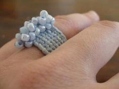 anillo en crochet anillo hilo,mostacillas tejido