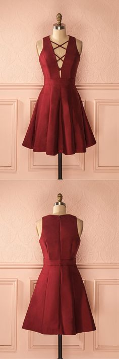 Short burgundy party dresses, cheap a-line criss cross homecoming gowns, fashion , semi formal dresses.