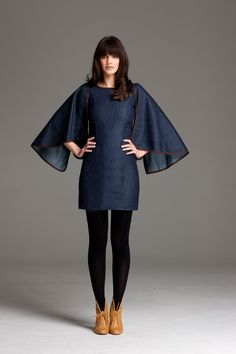 Cape sleeved dress by Handsom clothing