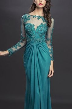 Long mother of the Bride Groom Dress ruched Evening Gown Navy & Teal