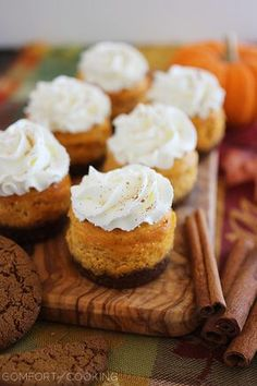 Mini Pumpkin Cheesecakes with Gingersnap Crusts |The Comfort of Cooking