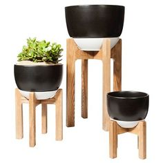 """Wooden Planter Stand with Pot 8"""" - Black - Threshold™ : Target"""
