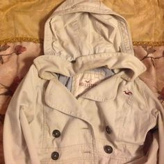 Hollister Coat/ Jacket Used in great condition, faded makeup markings on inside of coat, however not noticeable  while worn Hollister Jackets & Coats