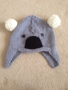 Knitted Koala hat by Helen Cole