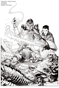 """""""Dragon Age: Serpent's Moon"""" :  Official art for Bioware's Dragon Age :  Ink Version : Andy Brase Art : * Color version- Limited Edition of 500, signed & numbered giclee : Available here : http://www.biowarestore.com/art/serpents-moon-giclee.html"""
