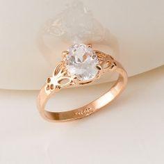 Rhinestone Cutout Petal Alloy Rose Gold Plated Women Ring