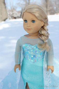 Beautiful Queen Elsa customized American Girl doll and outfit made by Clarisse's Closet inspired by Disney's Frozen