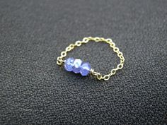 Faceted Tanzanite Trio Ring. Gold filled chain by PeggysPassions, $17.00