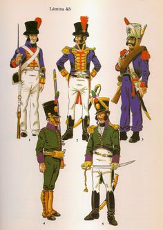 Spanish; Malaga Volunteers, Top Left Clockwise, Volunteer & Officer of the Battalion de la Real Maestranza de Ronda 1809, Provincial Militia of Ronda, Grenadier Sergeant 1811-12 & Officer & Tirador of the Battalio of Malaga Volunteer Tiradores 1809-10